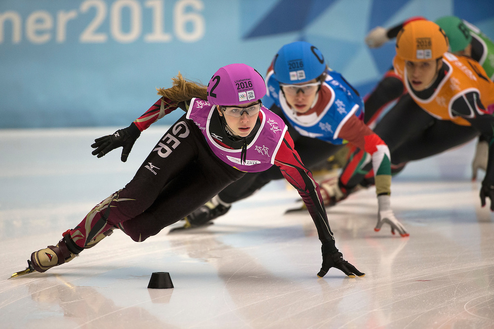 Anna Seidel GER competes during the Short Track Speed Skating Mixed NOC Team Relay at Gjovik Olympic Cavern Hall during the Winter Youth Olympic Games, Lillehammer, Norway, 20 February 2016. Photo: Al Tielemans for YIS/IOC Handout image supplied by YIS/IOC